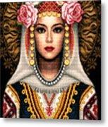 Girl In Bulgarian National Costume Metal Print