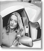 Girl In Car Metal Print