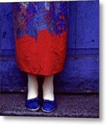 Girl In Colorful Flower Dress Metal Print