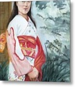 Girl in Kimono Metal Print