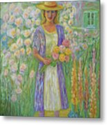 Girl In Monet's Garden At Giverny Metal Print