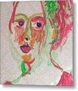 Girl In Red  Metal Print