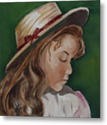 Girl In Ribboned Straw Hat Metal Print