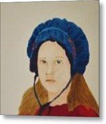 Girl In The Blue Bonnet Metal Print