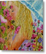 Girl In The Garden Metal Print