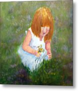 Girl In The Meadow Metal Print
