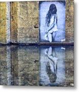 Girl In The Mural Metal Print