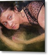 Girl In The Pool 13 Metal Print