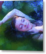 Girl In The Pool 20 Metal Print