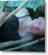 Girl In The Pool 23 Metal Print