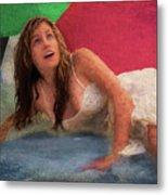 Girl In The Pool 3 Metal Print