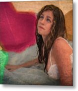 Girl In The Pool 4 Metal Print