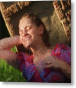 Girl In The Pool 9 Metal Print
