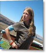 Girl In The Sun Metal Print