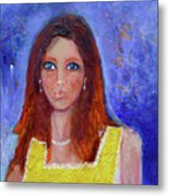 Girl In Yellow Dress Metal Print