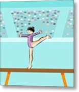 Girl Jumps On One Foot On The Balance Beam Metal Print