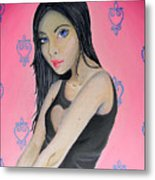 Girl Mysterious Metal Print