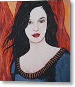 Girl Of Fire Metal Print