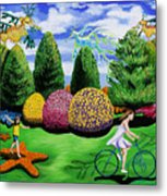 Girl On A Bike Metal Print