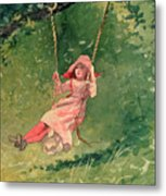 Girl On A Swing Metal Print by Winslow Homer