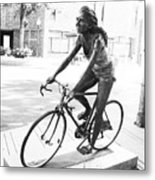 Girl On Bike Sculpture Grand Junction Co Metal Print