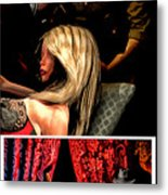 Girl On Couch Man On Curtain Metal Print