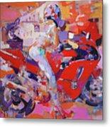 Girl On Red Bike Metal Print
