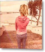 Girl On Redcliffe Travel Holiday Metal Print