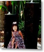 Girl On Rocks Metal Print