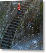 Girl On Stairs Metal Print