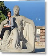 Girl On Statue Mt. Juic Barcelona Metal Print