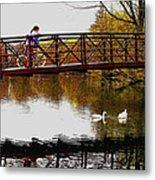 Girl On The Bridge Metal Print