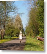 Girl On Trail In Straw Hat Metal Print