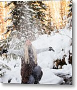 Girl Playing In The Snow In The Woods Metal Print