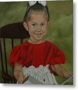 Girl Reading Book Metal Print