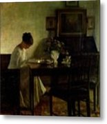 Girl Reading In An Interior  Metal Print