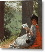 Girl Reading Under An Oak Tree Metal Print