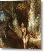 Girl Seated Beside A Woodland Pool Metal Print