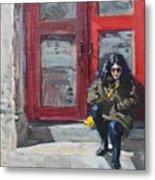 Girl Sitting At Red Doorstep Metal Print