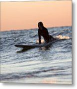 Surfer Girl Trying To Catch A Wave Metal Print