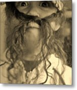Girl With A Mustache 1 Metal Print