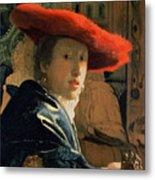 Girl With A Red Hat Metal Print by Jan Vermeer