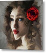 Girl With A Red Rose.. Metal Print