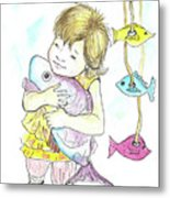 Girl With A Toy-fish Metal Print