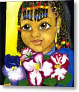 Girl With African Violet Metal Print