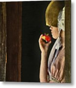 Girl With Apple Metal Print