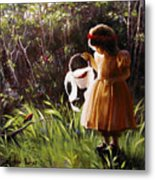 Girl With Basket Of Roses Metal Print