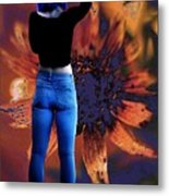 Girl With Blue Hair Metal Print