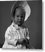 Girl With Bonnet And Curls Metal Print