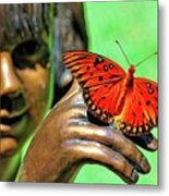 Girl With Butterfly Metal Print